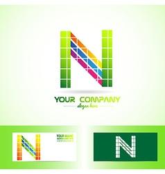 Letter N grid logo vector image