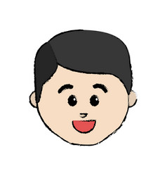 Line cartoon man face happy expression vector