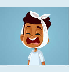 Little african boy suffering a painful toothache vector