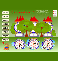 Logic puzzle game for children what time is it vector