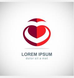 love heart letter v logo vector image