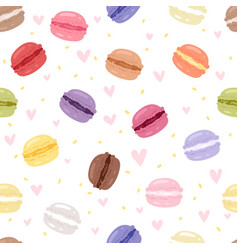 Macarons tasty cake set different colors macaroon vector