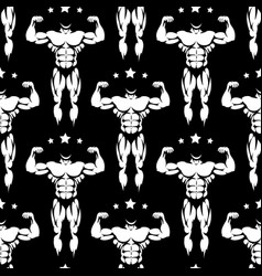 Male athletic body silhouettes seamless pattern vector