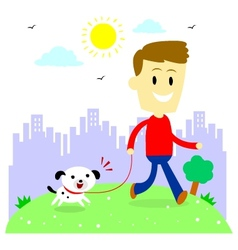Man Taking His Puppy for a Walk at Park vector