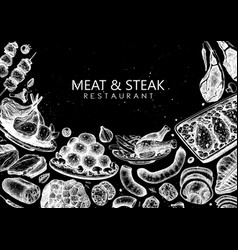 Meat and steak design hand drawn food mea vector