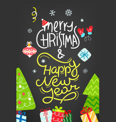 Merry christmas and happy new year flat vector