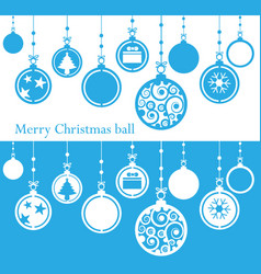 merry christmas ball cutted from paper on blue vector image