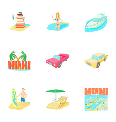 Miami icons set cartoon style vector