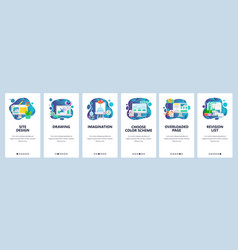 Mobile app onboarding screens art design and vector