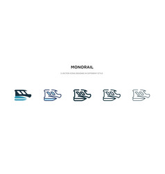 Monorail icon in different style two colored and vector