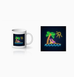 Neon happy summer print with palm sun vector