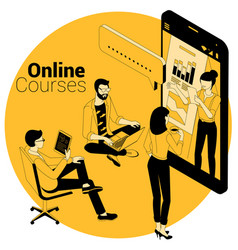 Online courses education training concept vector