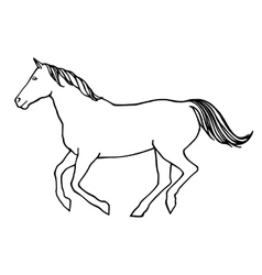 Outline of running horse vector