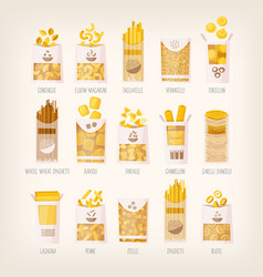 Packages of dry pasta vector