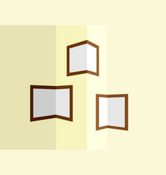 Photo frames at the corners of the room walls vector