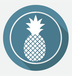 pineapple icon on white circle with a long shadow vector image
