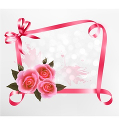 pink roses ribbons background vector image