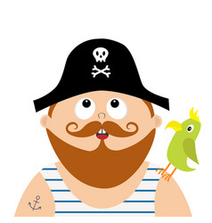 Pirate captain wearing black hat with skull vector