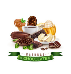 realistic cocoa products composition vector image