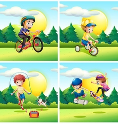 Scenes with kids exercising in the park vector image