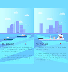 sea fishing and cargo ship vector image