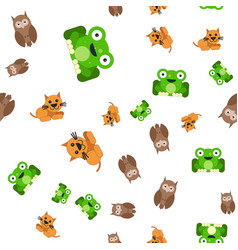 seamless pattern of frogs cats and owls vector image