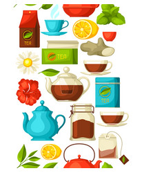 Seamless pattern with tea and accessories packs vector