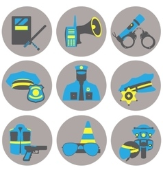Set collection icons of police equipment vector