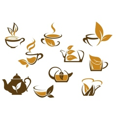 Set of organic and herbal tea icons vector