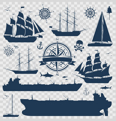set of sailing ships yachts and tankers vector image