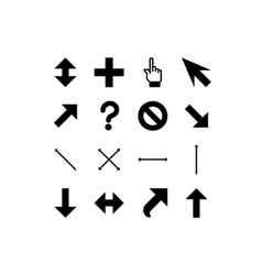 Smooth black cursors icons vector