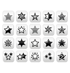 Stars black buttons with reflection isolated on wh vector
