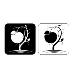 stylized image an apple tree with fruit and vector image