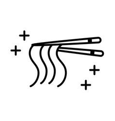 sushi oriental menu chopsticks with noodles line vector image
