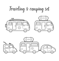 Transport caravan isolated icon set vector