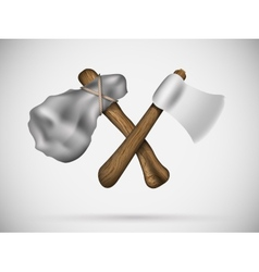 Two axes in a cross vector image
