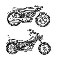 vintage motorcycles collection of bicycles vector image