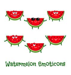 watermelon smiles cute cartoon emoticons vector image vector image