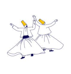 whirling dervish characters in traditional outfit vector image