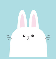 white bunny rabbit head face with moustaches big vector image