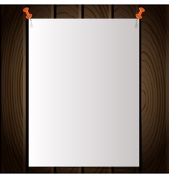 White note post pattern with pins on wooden wall vector image