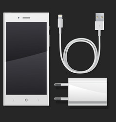 white phone with charging and a wire vector image