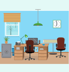 Winter office room interior with furniture and vector