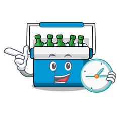 with clock freezer bag character cartoon vector image