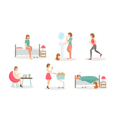 Woman day routine flat set vector