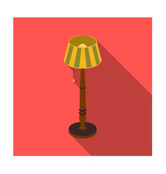 Wooden floor lamp icon in flat style isolated on vector