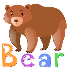Wordcard for grizzly bear vector