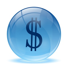 3D glass sphere and dolar icon vector image vector image