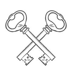 Crossed hand drawn keys design element vector image