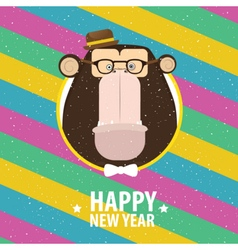 Happy New Year with monkey in varicolored frame vector image